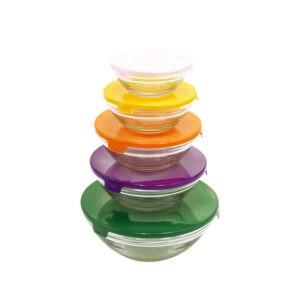 373622 Jogo de Potes de Vidro Conjunto com 5 Peças Coloridas Bon Gourmet